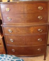 Vintage 1940's, Chest-On-Chest Highboy Sheraton Bow Front Dresser Includes Custom Cut Glass Top in Naperville, Illinois