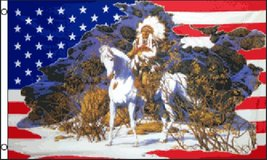 USA Flag - Indian #3 Horse - 3' x 5' - Polyester - NEW in Tacoma, Washington