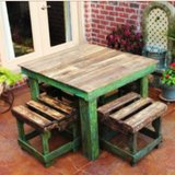 Pallet wood Farm style table Stool chair patio deck lounge in Camp Lejeune, North Carolina