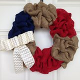 Red, White and Blue Burlap Wreath in Beaufort, South Carolina