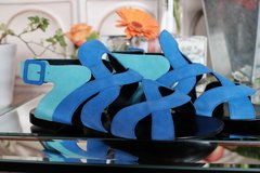 new giuseppe zanotti strappy blue suede flat sandal sz 8m / 38.5 eu in Los Angeles, California