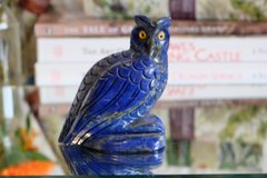 lapis lazuli large gem stone owl animal carving figurine natural dark blue in Los Angeles, California