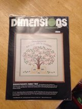 """Vintage Dimensions Grandparents Family Tree Crewelwicking Kit 4133 14""""x14"""" New in Kingwood, Texas"""