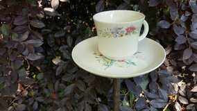 Bird Feeder - Tea Cup Upcycled Garden Decor - White with Floral 70's Pattern in Macon, Georgia