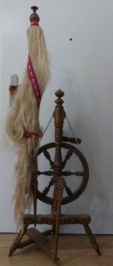 Antique German Upright Spinning Wheel in Ramstein, Germany