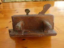 Old wooden moulding plane brass fittings, blades 1 to 8 in Lakenheath, UK