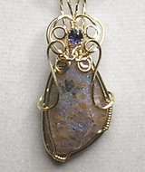 Louisiana Opal (Extremely Rare) Pendant with Iolite in Leesville, Louisiana