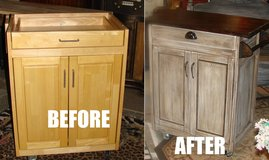 Rolling kitchen island 36 tall 18 deep 30 wide top down 42 top up solid oak top in Joliet, Illinois