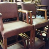 Antique Set of 6 Leather Oak Arm Chairs in DeRidder, Louisiana