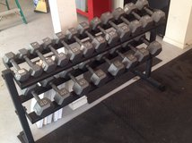 Dumbbell rack with weights in Conroe, Texas