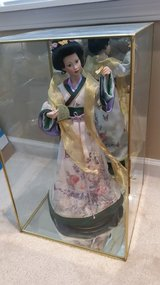 "REDUCED Lena Liu Oriental Geisha Doll Butterfly Maiden in Glass Case 20""H in Yorkville, Illinois"