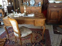 elegant French tiger oak desk with chess board inlay work in Spangdahlem, Germany
