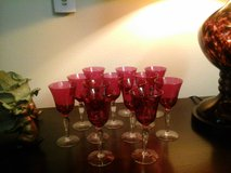 Antique cranberry glass wine glasses in The Woodlands, Texas