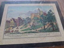 RARE Print of 1716 Nuremberg St. Walbourg & Chateau in Stuttgart, GE