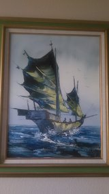 Original Kee Fung NG Oil Painting of Junk Boat in Roseville, California