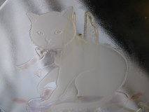 Large Etched Glass Plate Cat design w/stand in Camp Lejeune, North Carolina