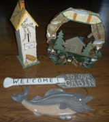 Country Cabin Lake House Deco Fishing Sign & Bird House in Kingwood, Texas