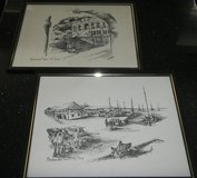 (2) P. Sigal St. Croix Street Artist Sketches Art / Framed Pictures 12X16 in Kingwood, Texas