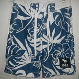 Mens A&F Abercrombie Medium Swim Trunks Board Shorts Suit Blue White Hibiscus Floral in Kingwood, Texas