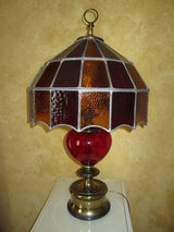 VINTAGE red glass  table lamp in Sugar Grove, Illinois
