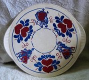 "Staffel Ivory & Hearts Stoneware Cake Platter, 12""D Made in Germany in Okinawa, Japan"