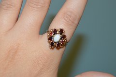 Vintage Garnet and Opal, 10K Yellow Gold Cluster Ring in Columbus, Georgia