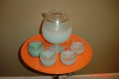 Vintage BLENDO Frosted Glass Pitcher and glasses in Lockport, Illinois