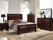 NEW ALL WOOD QUEEN BED DRESSER MIRROR 1 NS in San Bernardino, California