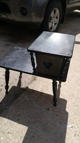 2 end tables (Black wood color) in Elgin, Illinois