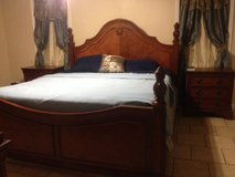 5 piece king size cherry wood bed suit in Fort Polk, Louisiana