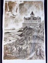 Vintage 1974 J.A. Kendall `Old Cliff House` Print Art Signed in Kingwood, Texas