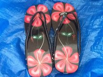 Floral Wooden Flip Flops in Ramstein, Germany