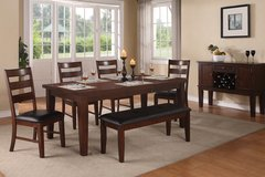 6 PC SOLID DINING SET Table w/Leaf & 4 Chairs and Bench BRAND NEW in Savannah, Georgia