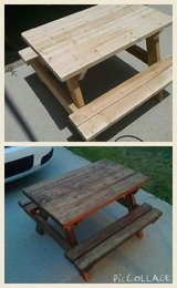 Handmade wooden kids picnic table in Hinesville, Georgia