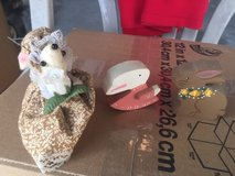 2 wooden easter bunny and rabbit + a mouse hand made in Camp Lejeune, North Carolina