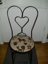 3 wrought iron ice cream chairs w/tapestry seat in Elgin, Illinois