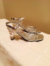 Silver Med Heel Sandals Shoes  6.5 in The Woodlands, Texas