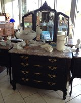 superb dark Louis XV style dresser with marble top & 3 piece mirror in Ramstein, Germany