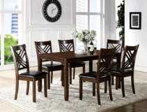 7 PIECES DINNING TABLE WITH 6 CHAIRS SOLID WOOD NEW in Vista, California