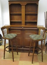 Solid Wood Bar with Three Barstools and Bar Back in Ramstein, Germany