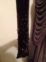 bronze metallic gown with velvet and sequinned shawl in Bartlett, Illinois