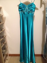 embellished aqua satin gown --deep V-back with train in Bartlett, Illinois