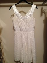 white cotton eyelet dress (lined) with satin trim (pleated skirt) side zip Deep V-back in Bartlett, Illinois