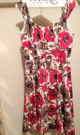 Deep coral, tan, and black floral dress (Tea length) scoop neck sleeveless/lined in Bartlett, Illinois