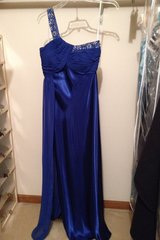 Navy blue  1 strap satin charmeuse/chiffon embellished floor length gown    lined in Bartlett, Illinois