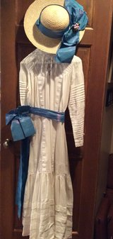 White long sleeve dress with satin moire belt and matching hat  COSTUME in Bartlett, Illinois