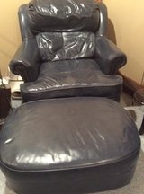 Oversized Blue/Grey Top Grain Leather Chair with matching Ottoman in Naperville, Illinois