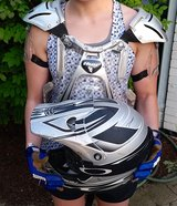 Fox Racing helmet, Oakley goggles, Thor gloves, Thor shoulder pads in Bolingbrook, Illinois