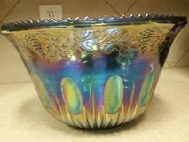 blue carnival glass punch bowl in Houston, Texas