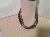 """Blue Cream Ribbon 2 Strand Necklace 18"""" Bronze Toned in Kingwood, Texas"""